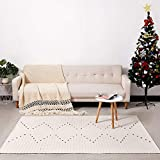 DOLOPL Boho Area Rug Floor Mat Cotton Woven 4'x6' Farmhouse Modern Mats Machine Washable Easy to Clean for Kitchen Dining Bedroom Laundry Living Room(Off White, Chivron Rug)