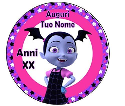 PARTY STORE WEB by casa dolce casa Vampirina - Oblea para Tarta, Personalizable con diseño de vampiresa - Kit n.º 2 CDC (1 oblea Redonda Impresa en Hoja A4 210 × 297 mm)