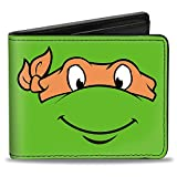 Buckle-Down Men's Wallet Classic Tmnt Michaelangelo Face Close-up Green/orange Accessory, -Multi, One Size