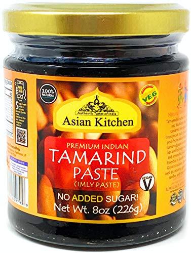 Asian Kitchen Tamarind Paste Puree (Imli) 8oz (227g) Glass Jar, Gluten Free, No Added Sugar ~ All Natural   Vegan   Non-GMO   No Colors   Indian Origin