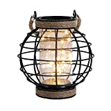 JHY DESIGN Metal Cage LED Lantern Battery Powered,7.3' Tall Cordless Accent Light with 20pcs Fairy Lights.Great for Weddings, Parties, Patio, Events for Indoors/Outdoors.