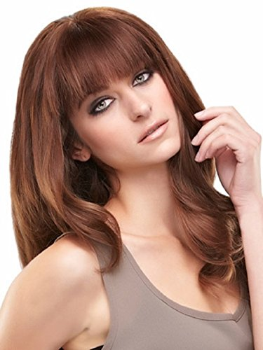EasiFringe Clip In Bangs Color 8RN Medium Gold Brown - Easihair Renau Wigs Remy Human Hair Monofilament Base Hairpiece 1 pc Face Framing Fringe 1