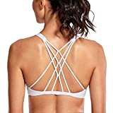 CRZ YOGA Women's Cute Yoga Sports Bra Strappy Sexy Back Padded Low Impact Workout Clothes Bra Tops White L
