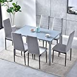 7 Piece Modern Grey Dining Table and Chairs Set of 6 for Small Kitchen, Glass Tempered Rectangular Table and 6 Grey Velvet Chairs for Small Dinette Apartment Space Saving