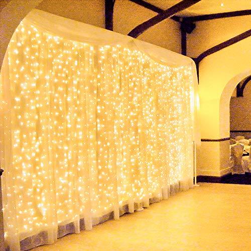 600 LED 6Mx3M Zorela Tenda Luminosa Natale Esterno Interno Collegabili Luci di Natale Impermeabile con 8 Modalit Tenda Luminosa Esterno Bianco Caldo Tenda di Luci per Natale, Giardino e Matrimonio
