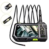 Dual Lens Endoscope 5.5MM Inspection Camera-Anykit NTS500 Industrial Endoscope- Borescope, 9.8 ft/3m Cable, 6 LED Lights with Dual Lens, 5 Inch IPS Display Screen, 32GB Card, IP67 Waterproof