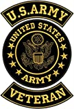 US Army Veteran Patches Set for Veterans Bikers Motorcycle Jacket or Vest Gold