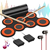 Electronic Drum Set for Kids G7 Pro, Roll Up Practice Pad Midi Electric Drum Kit with Headphone Speaker, Foot Pedals and Drumsticks, Gift for Kids Children (Orange)