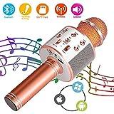 SunTop Microphone Bluetooth Sans Fil, Karaoke Sans Fil, Karaoké Micro Sans, Bluetooth haut-parleur, des Chansons Haut-parleur AUX pour ordinateur portable, iPhone, iPad, Android Smartphone