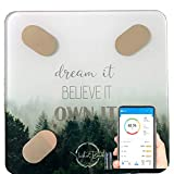 Dream it - Motivational Smart Scale,W Body Fat Scale, Body Composition Scale, Bathroom Scales Know Your Body Fat Percentage, Muscle Mass & More. Modern Motivational Design.iOS & Android App