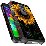 Galaxy S5 Case, Miss Arts Slim Anti-Scratch Protective Kit with [Drop Protection] Heavy Duty Dual Layer Hybrid Sturdy Armor Cover Case for Samsung Galaxy S5 -Rose Flower/Sunflower