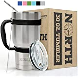 North Stainless Steel Vacuum Insulated 5-Piece Tumbler Set, 30 oz, Travel Mug For Home, Office, School – Like Yeti Tumbler For Ice Drink & Hot Beverage