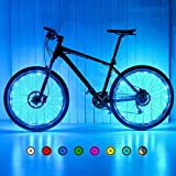 SYOSIN LED Bike Wheel Lights,USB Rechargeable Bright Waterproof Bike Spoke Lights for Wheels-7 Colors in 1 and 18 Modes for Mountain Bike,Road Bike,BMX Bike,Hybrid Bike,Folding Bike(Upgrade)