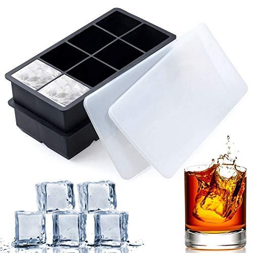 Large Square Ice Cube vassoi - Slgol 2 pezzi Set vassoio in silicone senza BPA, con coperchi in plastica per 8 cubi quadrati flessibile impilabile Easy Release congelatore stampi per whisky