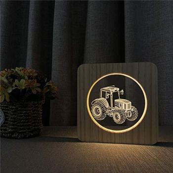 Tracteur de Voiture lumières Acrylique Table de Chevet en Bois commutateur de Commande de contrôle de Gravure Lampe décoration Chambre d'enfant Cadeaux d'agriculteurs