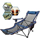 Happybuy Blue Folding Camp Chair with Footrest Mesh Lounge Chair with Cup Holder and Storage Bag Reclining Folding Camp Chair for Camping Fishing and Other Outdoor Activities (Blue)