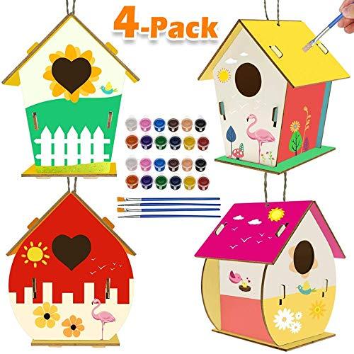 Activités pour Enfants Art et Artisanat pour Enfants Lot de 4 Kits de Maison d'oiseaux à Faire soi-même pour Les Enfants à Construire et à Peindre