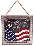 Creative Hobbies Patriotic American Flag Hanging Sign, 12 Inch Square with Jute Hanger, MDF Wood on...