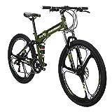Mountain Bike TSM G4 Bicycle 21 Speed 26 Inches Wheels Dual Suspension Folding Bike ArmyGreen