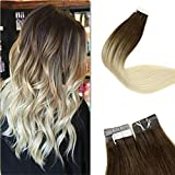 LaaVoo 20inch Tape in Hair Silky Straight Human Hair Extensions Dark Brown to Platinum Blonde and Brown Velvet Remi Human Hair Brazilian Hair Double Sided Adhesive Hair 20 Pieces