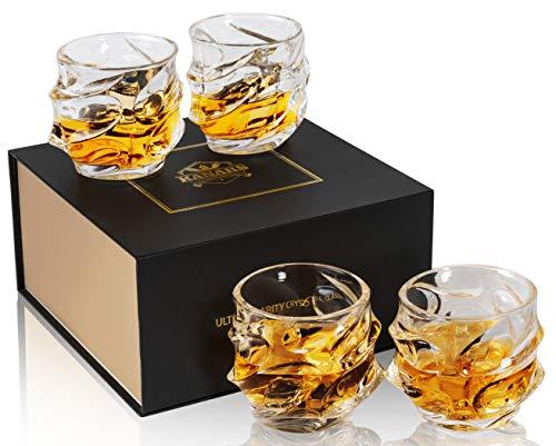 KANARS Bicchieri Whisky, Bicchiere Cocktail e Whiskey Cristallo, Set di 4 Pezzi, 320ml, Bellissimo...