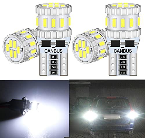 DEFVNSY - Confezione da 4 - Bianco 6000K T10 W5W Canbus Error Free 3014 18-SMD Bright 168 192 2825 Lampadine a LED per luci di retromarcia Fanale posteriore Luci per interni auto - 12V DC