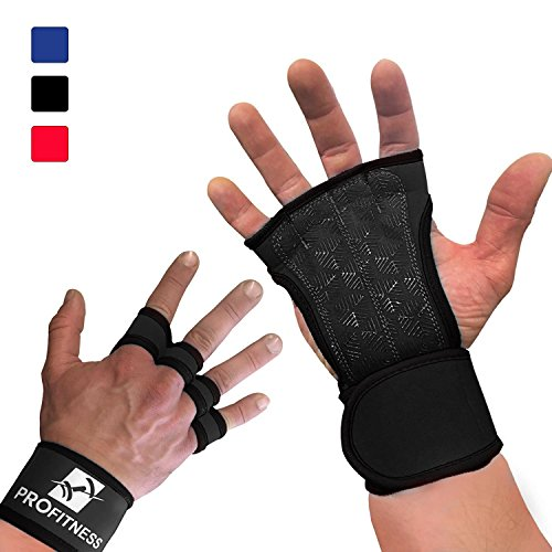 ProFitness Workout Gloves Wrist Wrap Best Workout Glove for Weight Lifting, Gym Workouts (Black, Medium)