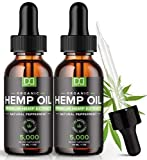 (2 Pack) 5000MG Hemp Oil for Pain Relief Anxiety Sleep Mood Stress 10000mg Total, Immune Immunity Support - Best Pure Natural Organic Vitamins Fatty Acids Hemp Seed Extract Tincture Drops