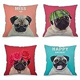 VenusL Set of 4,Funny Gloomy Pet Pug Dog,Bulldog Decorative Throw Pillow Covers,Green,Rose,Purple,One-Side Printed,Cotton Linen,18x18 Inch(45x45cm)
