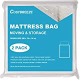 [2-Pack] Mattress Bag for Moving, Mattress Storage Bag, 4 Mil Queen Size, Super Thick - Heavy Duty, Protecting Mattress Long-Term Storage and Disposal - 76 x 96 Inch