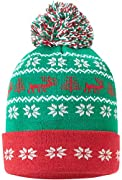 GREAT FOR THE HOLIDAYS: Christmas Ugly Sweater themed Winter Ski Hats in a blend of green, blue, red. WILL KEEP YOU NICE AND WARM: Soft, warm, and fashionable - these winter hats feel amazing on your head. UNISEX: Great For BOTH Men & Women GREAT DUR...