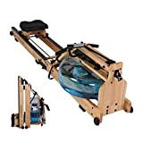 Vilobos Water Rowing Machine Heavy Duty Wooden Foldable Rower with Water Resistance Adjustable LCD Monitor for Calories Burned Sports Exercise Equipment in Home Gym