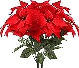 HUAESIN 2pcs Flores Artificiales Navidad Flor Pascua Artificial Poinsettia Falsa Pascuero Ramo Flores Navideas Rojas para Fiesta Hogar de Ao Nuevo Adornos rbol de Navidad Centro de Mesa 30x50cm