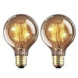 Ampoule Edison E27 Dimmable Vintage Lampe 40W Edison Antique Filament Rétro Lumière Globe G80 Blanc Chaud 220-240V - 2 Pack