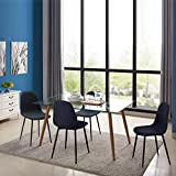 IDS Home 5 Piece Mid Century Clear Glass Dining Table Furniture Set for 4, Fabric Chairs with Metal Leg, Black