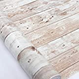 Wood Self Adhesive Paper 17.71' X 32.8 Ft Self-Adhesive Removable Wood Peel and Stick Wallpaper Decorative Wall Covering Vintage Wood Panel Interior Film Easy to Clean