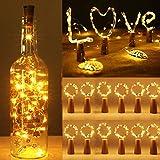 12PCS Luces de Botella de Vino luz Cobre con Corcho, Sendowtek 2m 20 LED Decorativas Luces de Hadas para Romántico Boda Festival Navidad Fiesta Hogar Exterior Jardín (Blanco Cálido)