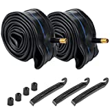 Livtor 2Pcs 20 Inch Inner Bike Tubes, 20x1.75 Schrader Valve MTB Bike/Schrader Valve BMX Bicycle Inner Tubes with 3 Tire Levers& 2 Extra Valve Caps