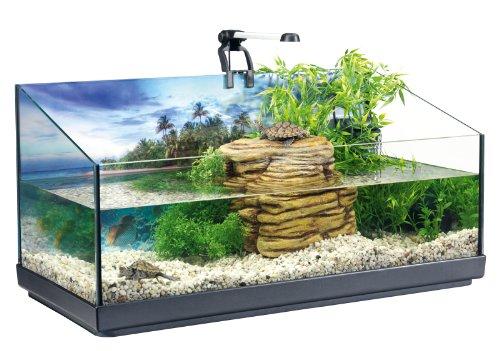 Tetra Repto Aqua Set, Komplettset (für Wasserschildkröten mit Innenfilter, Heizer, LED-Beleuchtung und Deko-Insel mit integriertem Futterplatz, ideal zur Aufzucht von Baby- und jungen Schildkröten)