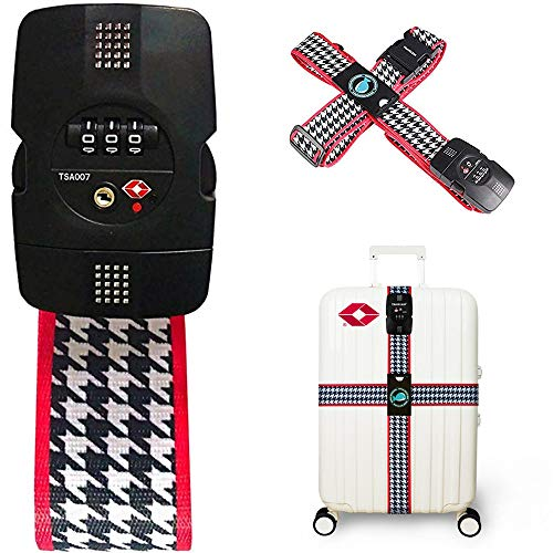 TSA 3-Digit Password Lock Adjustable Luggage Strap Travel Suitcase Band Belt Baggage Strap Fit for 20-32'' Suitcase