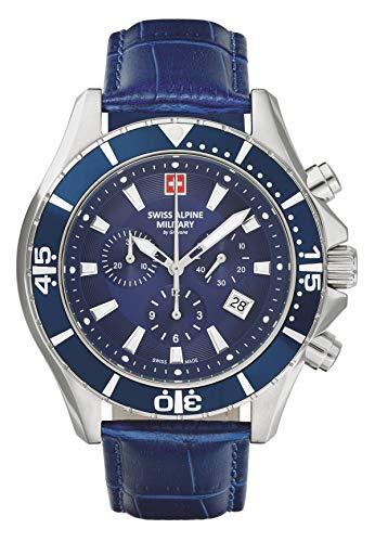 Swiss Alpine Military Herren Uhr Chronograph Analog Quarz 7040.9535SAM Leder