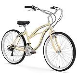 Firmstrong Urban Lady 21-Speed Beach Cruiser Bicycle, 26-Inch, Vanilla