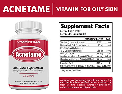 Acnetame- Vitamin Supplements for Acne Treatment, 60 Natural Pills 2