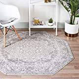 Unique Loom Richmond Collection Medallion Overdyed Oriental Transitional White Octagon Rug (5' 0 x 5' 0)