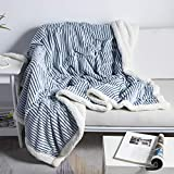 DISSA Sherpa Fleece Blanket Throw Blanket Soft Blanket Plush Fluffy Blanket Warm Cozy with Blue and White Strip Perfect Throw for All Seasons for Couch Bed Sofa (Blue, 51' x63'')