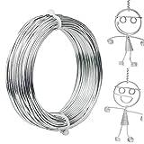Zoiibuy 2 mm Fil d'artisanat en Aluminium, 30M Fil Tricotin Fil D'Aluminium pour La Fabrication de Bijoux, La Fabrication de Modèles, Les Armatures et La Sculpture