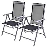 New Set of 2 Durable Textilene Patio Folding Chairs Adjustable Reclining Indoor Outdoor Garden Pool /Grey #324