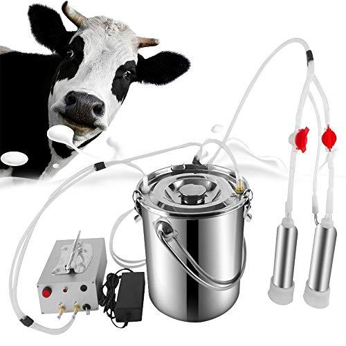 Cow Goat Milking Machine, Pulsation Vacuum Pump Milker, Automatic Portable Livestock Milking Equipment (7L, Cow)