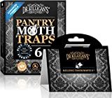Dr. Killigan's Premium Pantry Moth Traps with Pheromones Prime | Safe, Non-Toxic with No Insecticides | Sticky Glue Trap for Food and Cupboard Moths in Your Kitchen | Organic (6, Black)