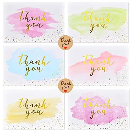 48 x Dankeskarten (Thank you Gold) mit Umschläge und Sticker im Set, Thank you Cards Klappkarten Grußkarten für Hochzeit Geburtstag Baby Taufe Firmung Party u.m. von ipow®